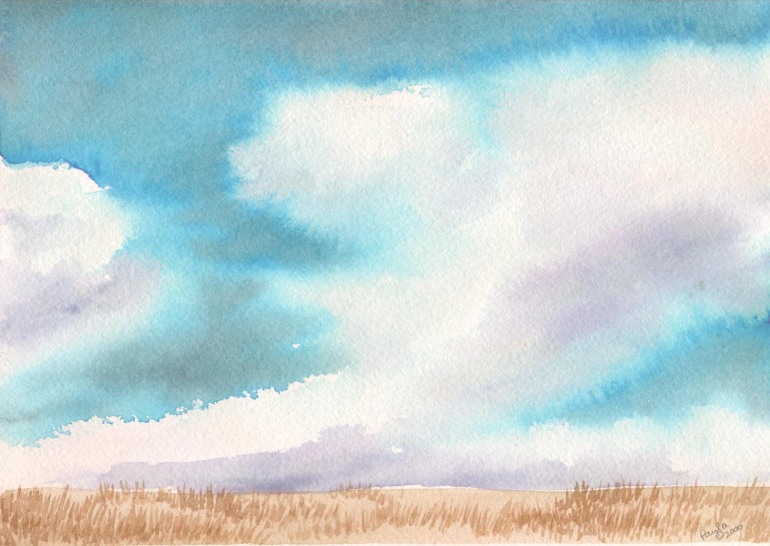 sky landscape watercolor original painting