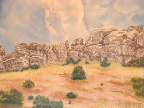 landscape pencil watercolor original painting