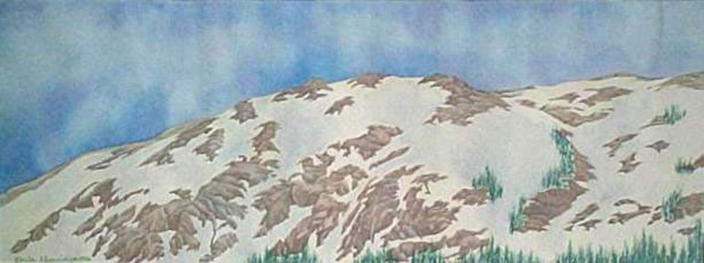 mountain landscape watercolor original painting
