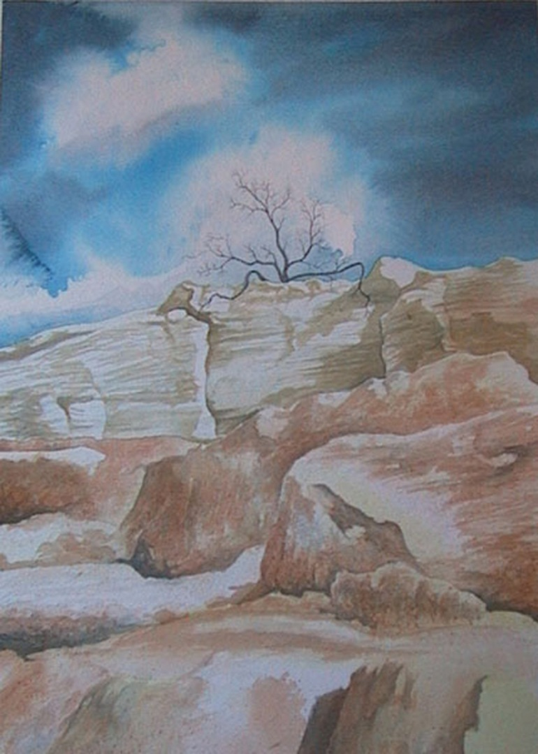 rock landscape watercolor original painting