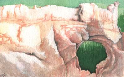 window rock landscape watercolor original painting