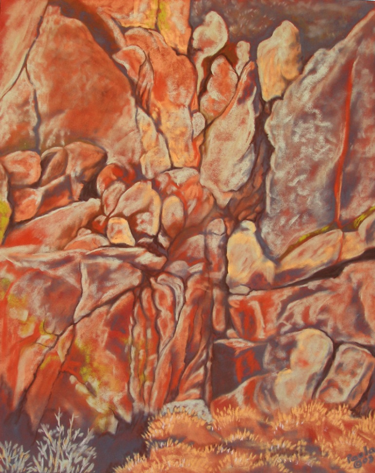 rock landscape abstract pastel original painting