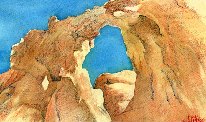 window rock watercolor original painting