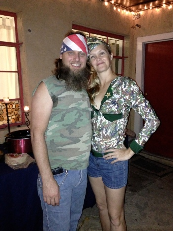 Duck Hunter and Army girl halloween costumes